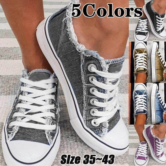 Women Low Cut Lace Leisure Denim Sneakers