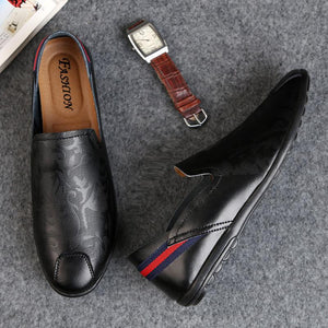 Men Hot Sale Casual Printing Business Leather Slip on Shoes