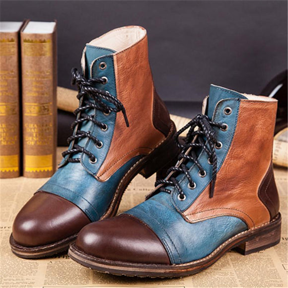 Shoes - Fashion Men's Retro Style Mixed Colors High Quality Leather Martin Boots