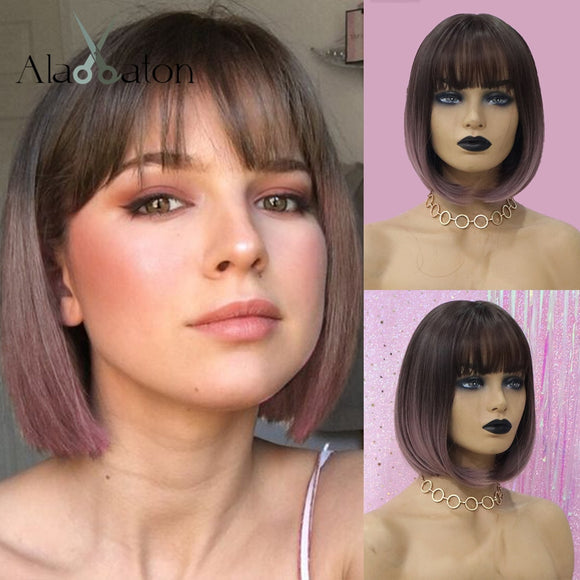 Vipupon Ombre Dark Brown Purple Wigs with Bangs