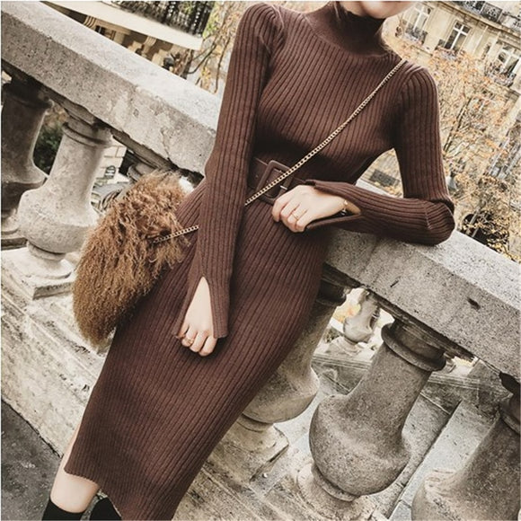 Winter Knitted Sweaters Long Dresses