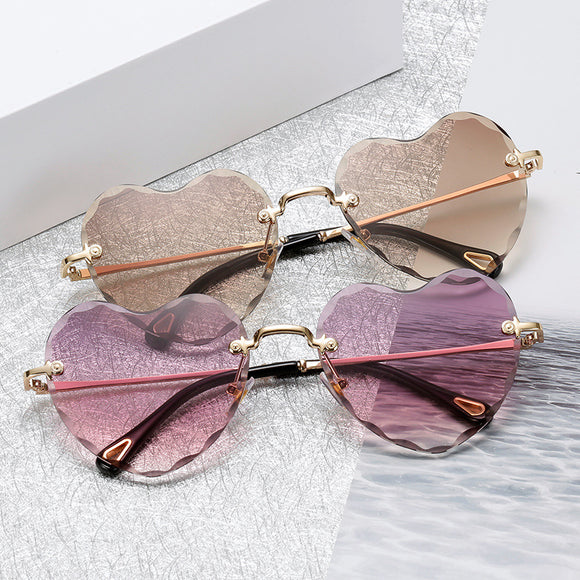 Fashion Rimless Cute Love Heart Sunglasses