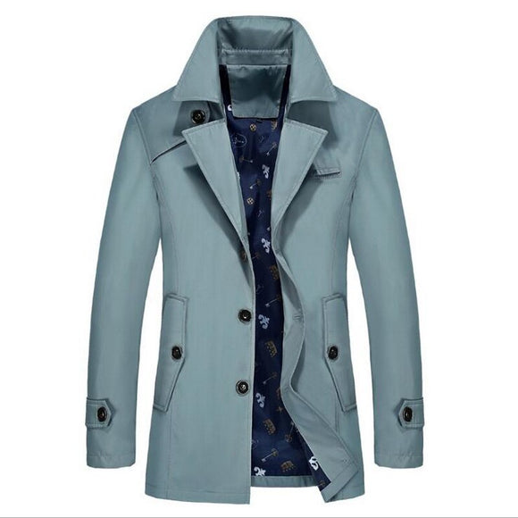 Men's England Style Fashion Casual Cotton Trench Jacket