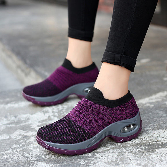 Breathable Mesh Slip on Platform Sneakers For Women