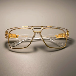 Classic Square Gold Metal Frame Fashion Clear Lens Eyewear