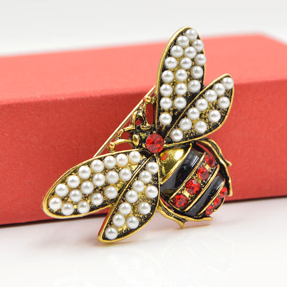 Rhinestone and Pearl Bee Brooches For Women