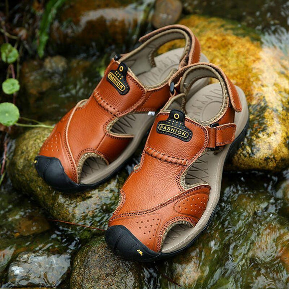 Large Size Men Stitching Genuine Leather Anti-collision Toe Lace Up Outdoor Beach Sandals