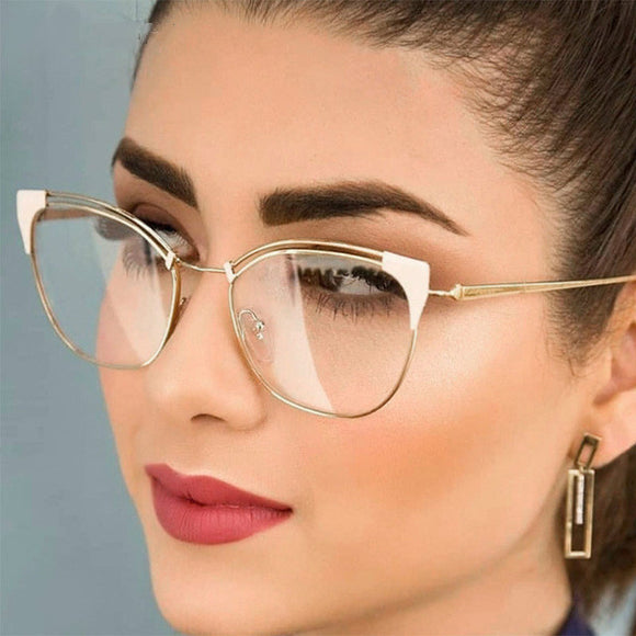 Cat Ear Simple Metal Glasses For Ladies