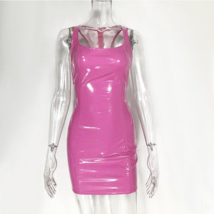 Sexy PU Leather Dresses Party Night Club Wear