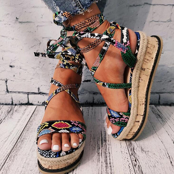 Summer Women's Snake Skin Pattern Sandals