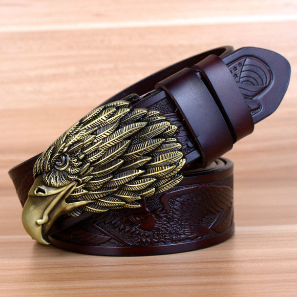 Eagle Design Luxury Fashion Vintage Male Genuine Leather Belts