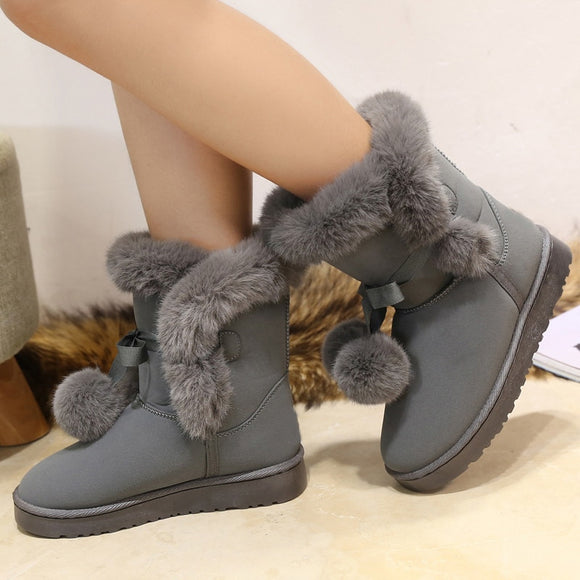 Round Toe Thick Flat Ankle Boots