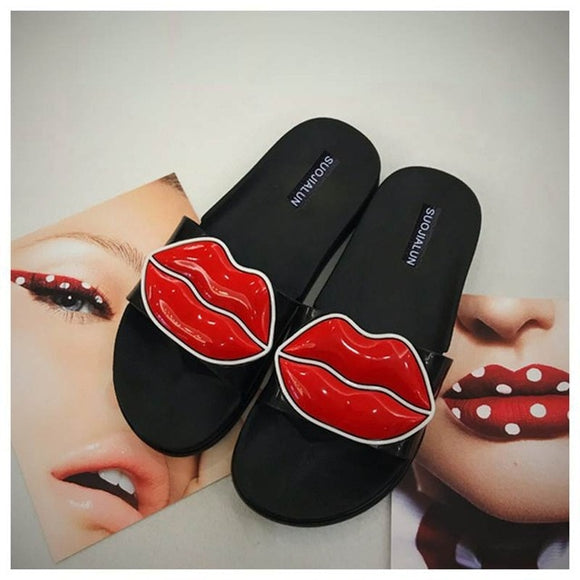 Cartoon Lovely Sexy Lips Design Slippers