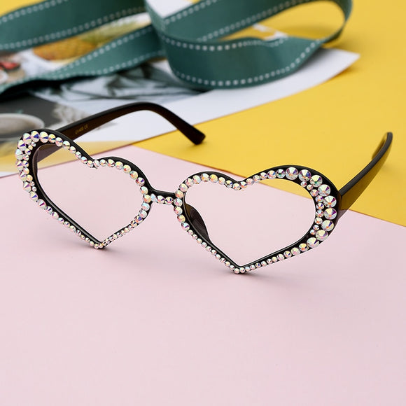 Fashion Heart Clear Lens Luxury Rhinestone Eyeglasses
