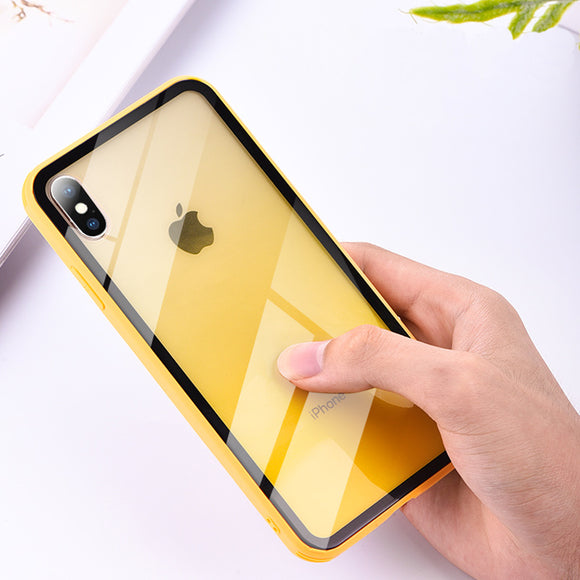 Gradient Color Clear Tempered Glass Case For iPhone