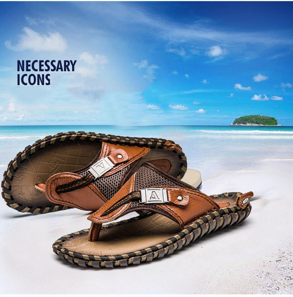 Vipupon Summer Plus Size Hand-made Genuine Leather Men Slippers Beach Shoes(Buy 2 Get 10% off, 3 Get 15% off Now)