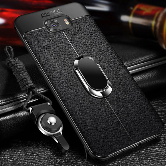 Magnetic Ring Soft Silicone Leather Back Cover For Samsung Galaxy S8 S9 Plus Note 8 9
