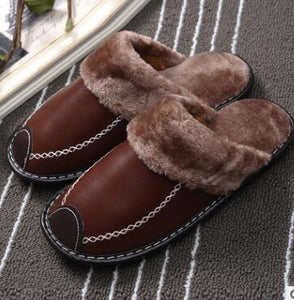 Big Discount New Winter PU Leather Waterproof Warm Slippers ( Buy 3 get 1 for free, Buy 5 get 2 for free )