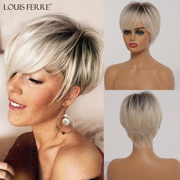 Vipupon Short Ombre Black Ash Light Blonde White Synthetic Wigs With Bangs