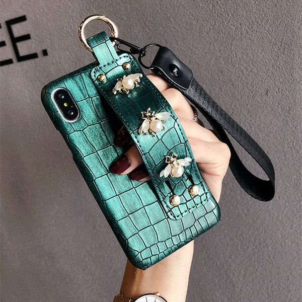 Luxury 3D Pearl Bee Leather Wrist Strap Bracket Case For iPhone ...