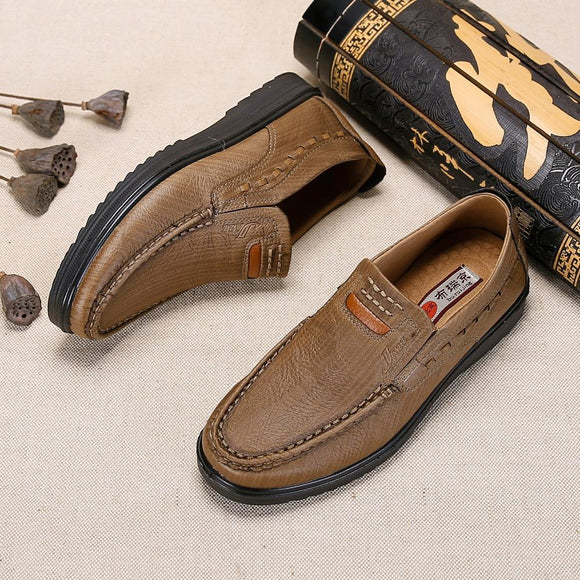 Men's Shoes - Large Size Casual Style Leather Slip-on Shoes