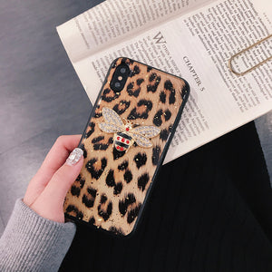 Luxury Brand Metal Diamond Bee Square Marble Glitter Silicone Phone Case