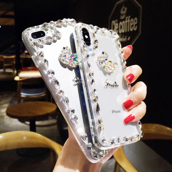 Luxury Crystal Swan Transparent Soft TPU Cover For iPhone
