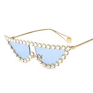Crystal Crystal Clear Lens Cat Eye UV400 Sunglasses
