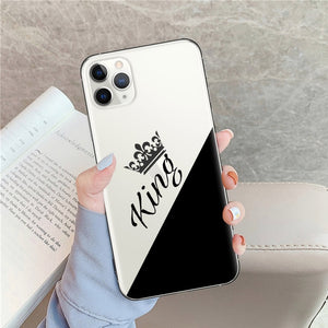 Luxury King Queen Lovers Couple Case For iPhone X XS MAX X XR 11 Pro 7 8 6 6s Plus