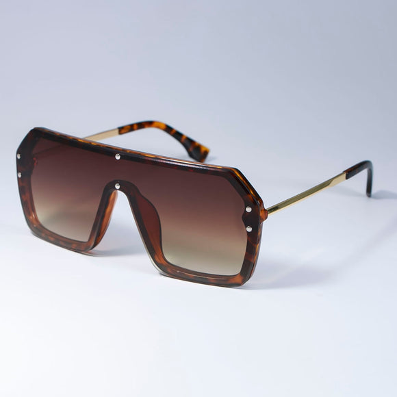 Fashion Letter Mirror Square Shield Sunglasses