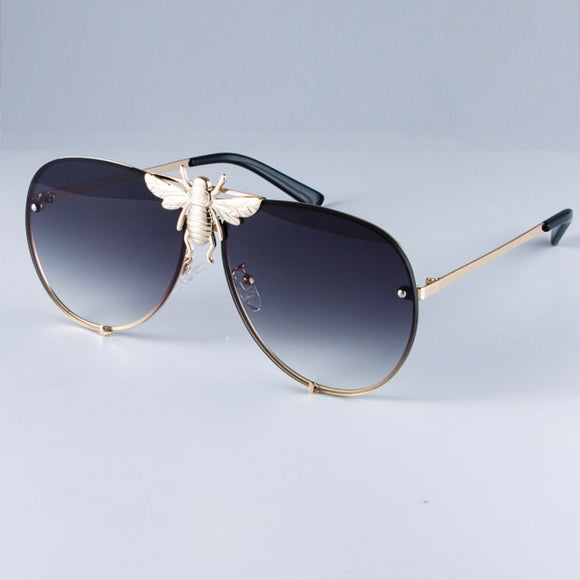 Luxury Metal Big Bee Pilot Gradient Lenses Sunglasses
