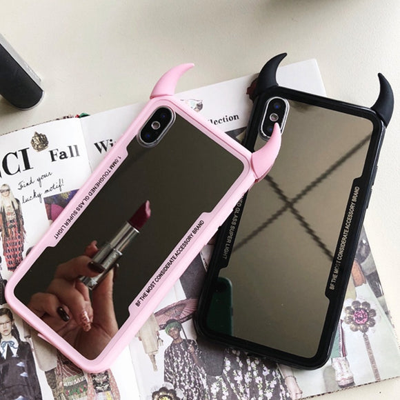 Luxury 3D Devil Horn Mirror Cover For iPhone