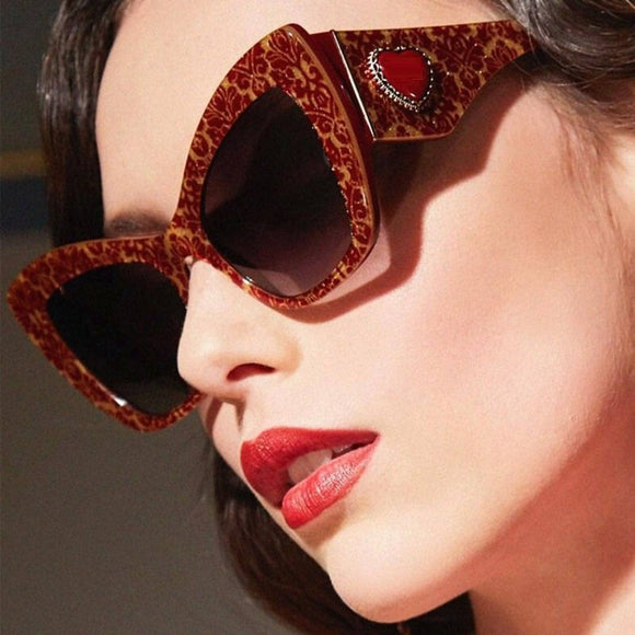 Luxury Brand Designer Women Big Cat Eye Sunglasses