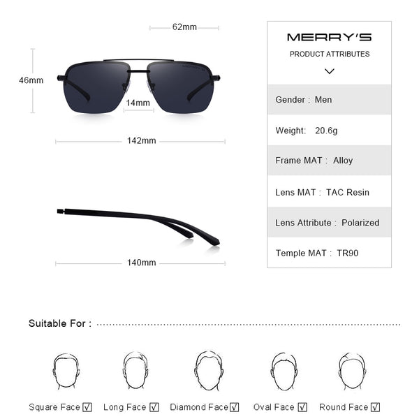 Rectangle Rimless Luxury Polarized Sunglasses