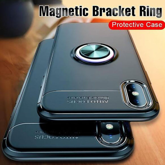 360 Full Protective Magnetic Ring Holder Car Stand Phone Case For iPhone X XS XR Max