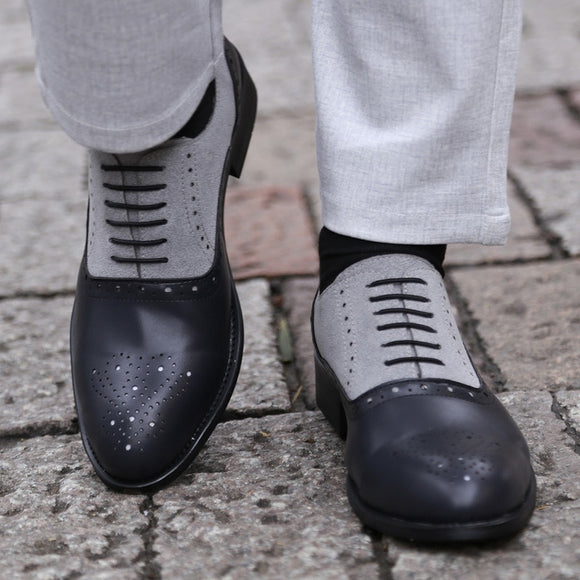 Pointed Toe Handmade Leather Oxfords Formal Shoes For Male
