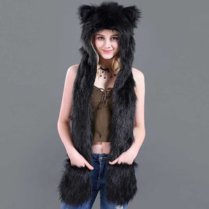 3in1 Plush Warm Imitation Fur Hats With Scarf Gloves