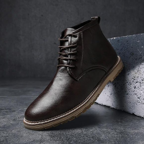 Shoes - High Quality Men's Genuine Leather Ankle Boots