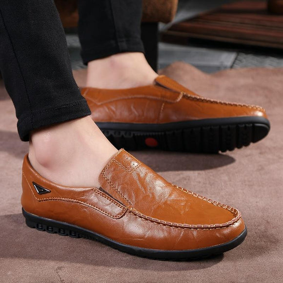 2019 Men Fashion Leather Solid Comfortable Shoes Flats