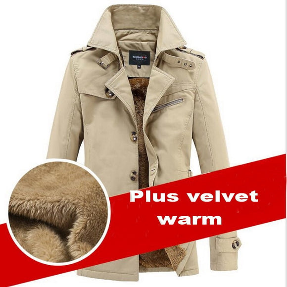 High Quality Plush Warm Trench Windbreakers