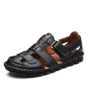 Luxury Leather Casual Summer Sandal Flats For Men