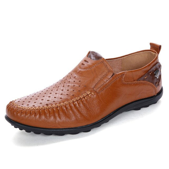 Breathable Hole Soft Driving Shoes For Men