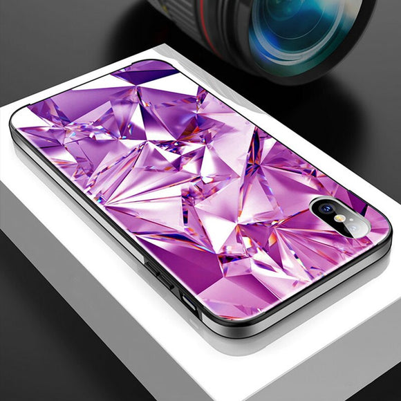 Metal Frame Tempered Glass Back Cover Phone Case For iPhone