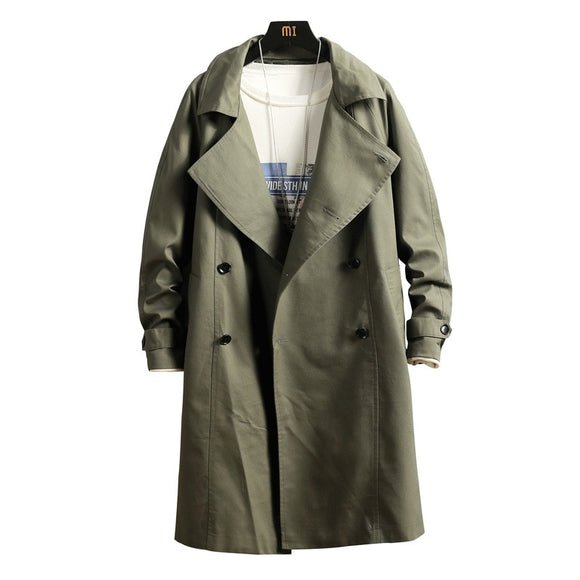 Men's New Double Breasted Green Trench Coat