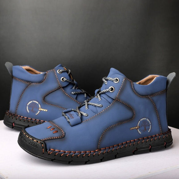 Men's New Handmade Lace-up Leather Ankle Boots