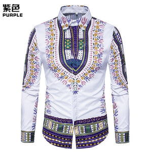Men's Casual 3D National Style Printing Long Sleeve Shirt