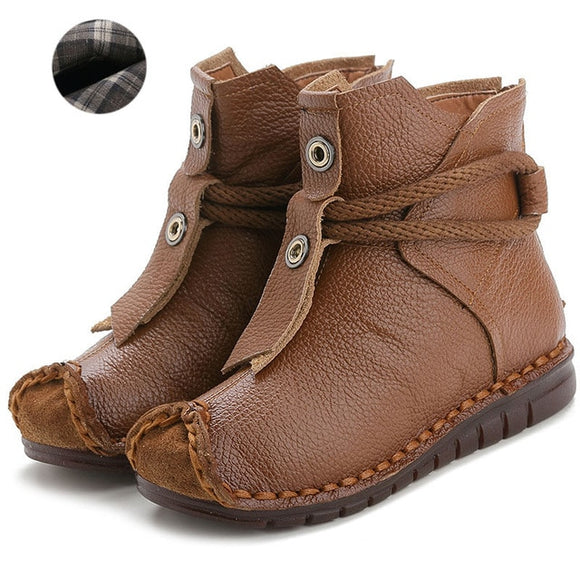 Spring Autumn Winter Handmade Flat Boots For Ladies [ Buy 2 GET Extra 5% OFF, BUY 3 GET 10% OFF ]