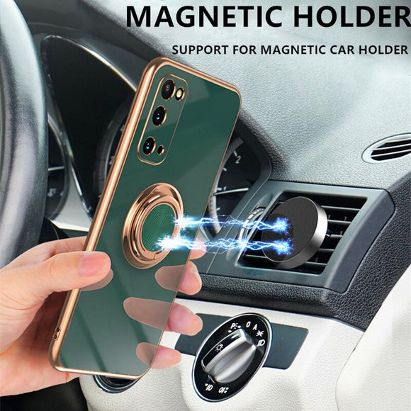 Plating Car Magnetic Holder Full Protection Case For Samsung Galaxy S20 S21 Ultra