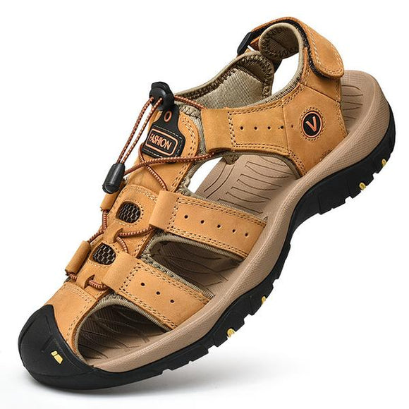 Vipupon Plus Size Men's Roman Style Genuine Leather Casual Sandals