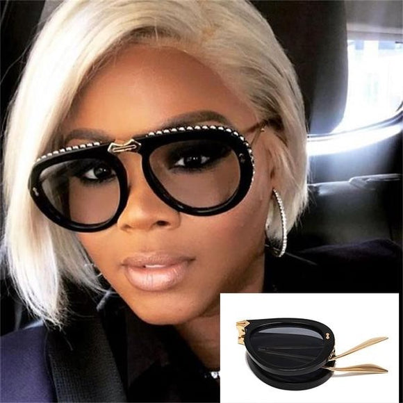 Rhinestone Pilot Foldable Sunglasses(Extra Discount:Buy 2 Get 10% OFF, 3 Get 15% OFF )